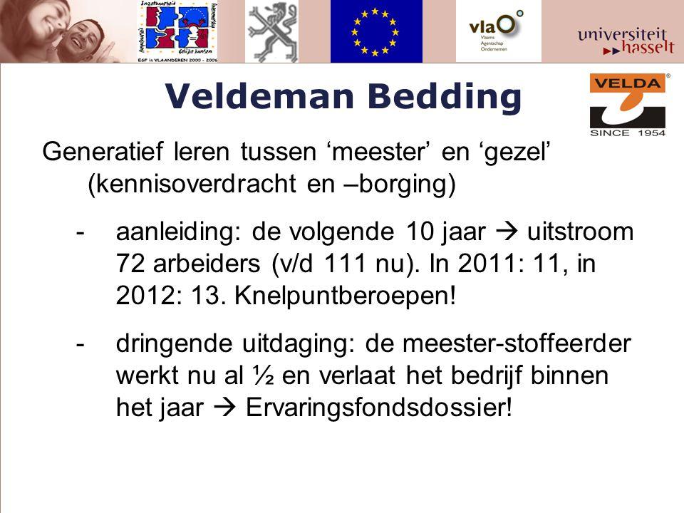 Veldeman Bedding Generatief leren tussen 'meester' en 'gezel' (kennisoverdracht en –borging) -aanleiding: de volgende 10 jaar  uitstroom 72 arbeiders (v/d 111 nu).
