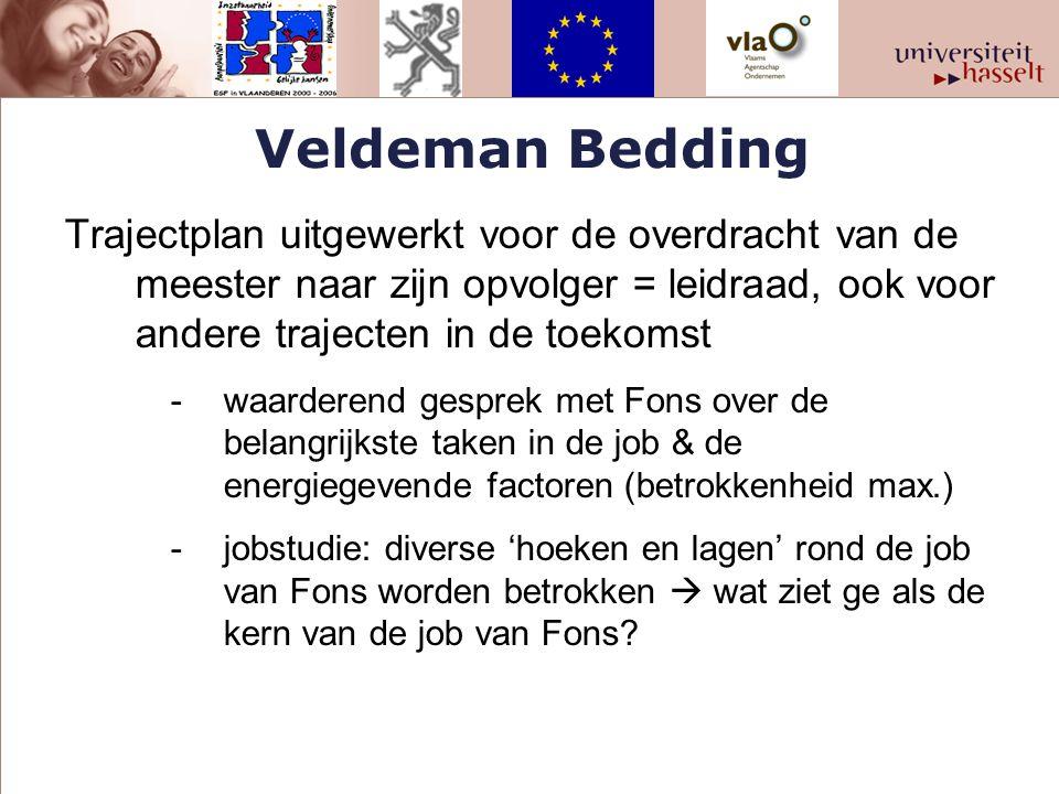 Veldeman Bedding Trajectplan uitgewerkt voor de overdracht van de meester naar zijn opvolger = leidraad, ook voor andere trajecten in de toekomst -waa