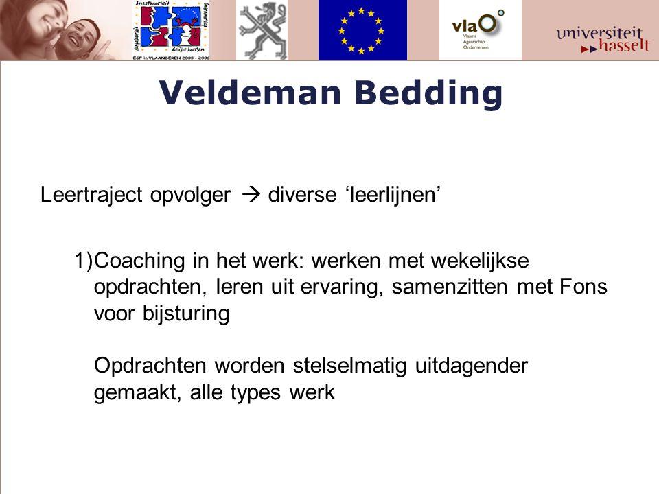 Veldeman Bedding Leertraject opvolger  diverse 'leerlijnen' 1)Coaching in het werk: werken met wekelijkse opdrachten, leren uit ervaring, samenzitten