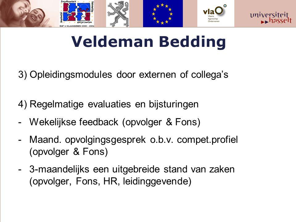 Veldeman Bedding 3) Opleidingsmodules door externen of collega's 4) Regelmatige evaluaties en bijsturingen -Wekelijkse feedback (opvolger & Fons) -Maa