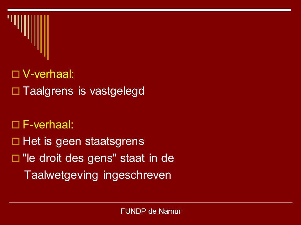 FUNDP de Namur  V-verhaal:  Taalgrens is vastgelegd  F-verhaal:  Het is geen staatsgrens 