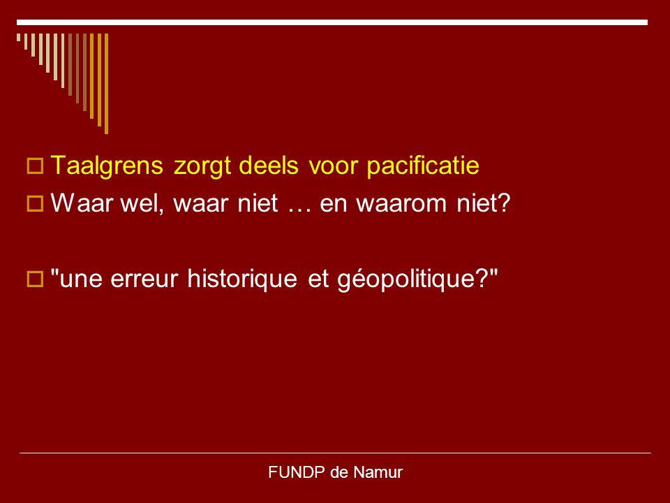 FUNDP de Namur  Taalgrens zorgt deels voor pacificatie  Waar wel, waar niet … en waarom niet? 