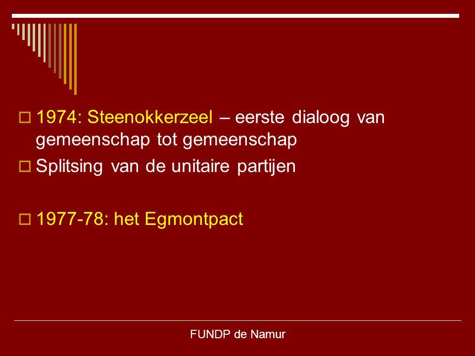 FUNDP de Namur  1974: Steenokkerzeel – eerste dialoog van gemeenschap tot gemeenschap  Splitsing van de unitaire partijen  1977-78: het Egmontpact