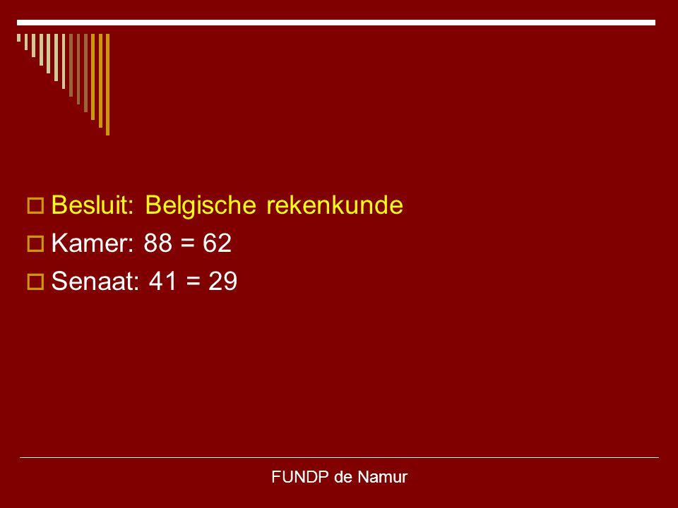 FUNDP de Namur  Besluit: Belgische rekenkunde  Kamer: 88 = 62  Senaat: 41 = 29