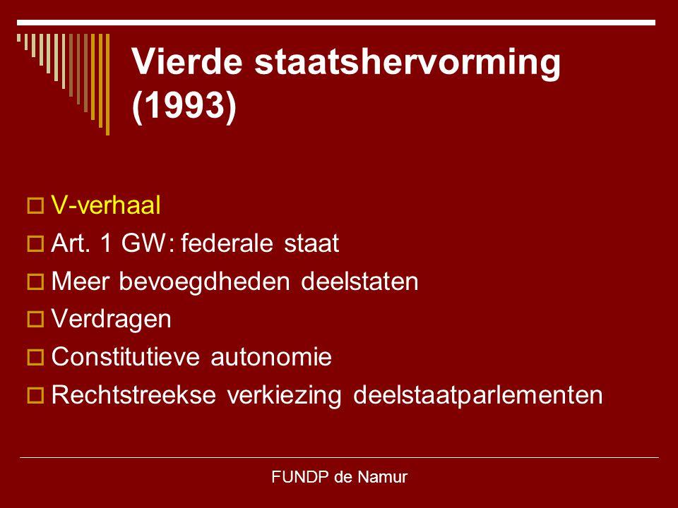 FUNDP de Namur Vierde staatshervorming (1993)  V-verhaal  Art. 1 GW: federale staat  Meer bevoegdheden deelstaten  Verdragen  Constitutieve auton