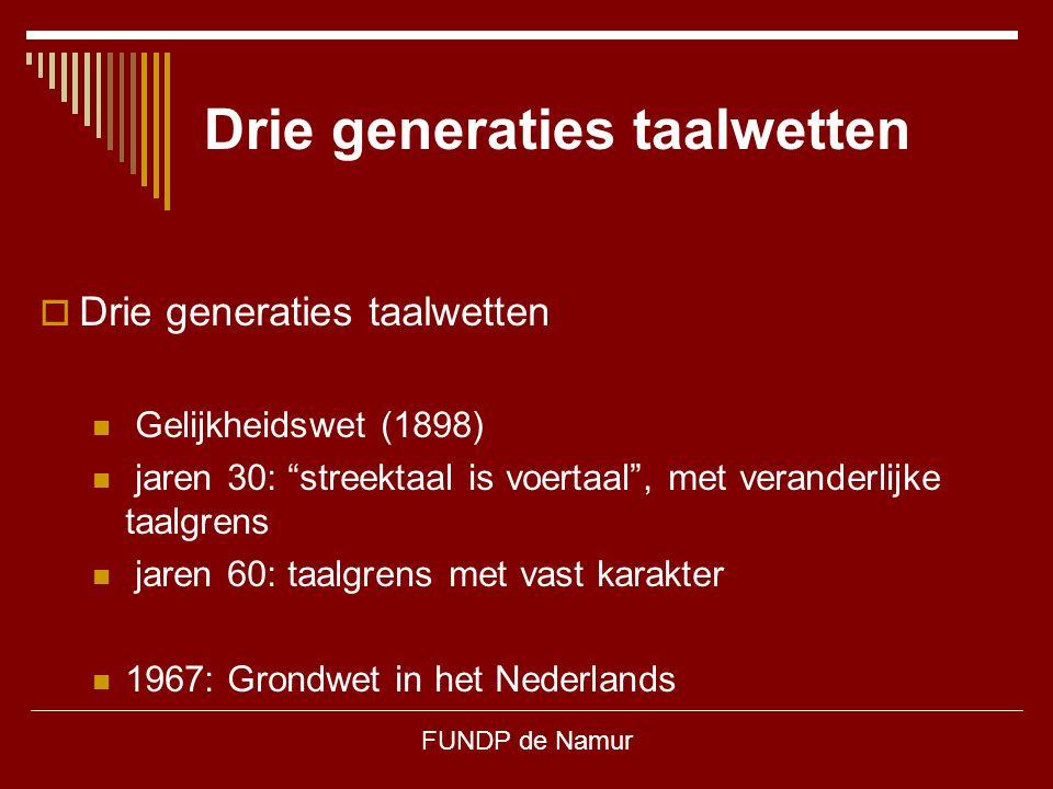 """FUNDP de Namur Drie generaties taalwetten  Drie generaties taalwetten Gelijkheidswet (1898) jaren 30: """"streektaal is voertaal"""", met veranderlijke taa"""
