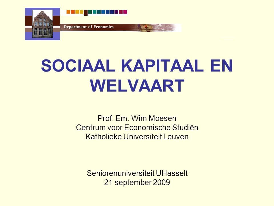 INHOUD 1.SOCIAAL KAPITAAL EN ECONOMISCHE WELVAART Transmissiemechanisme 2.METEN EN VALIDEREN Empirische bevindingen 3.STERKTEN- ZWAKTENANALYSE Beleidsconclusies