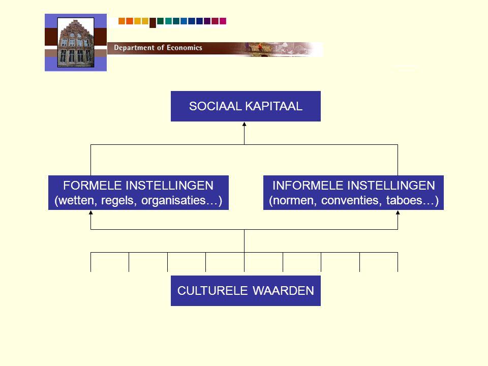 FORMELE INSTELLINGEN (wetten, regels, organisaties…) INFORMELE INSTELLINGEN (normen, conventies, taboes…) CULTURELE WAARDEN SOCIAAL KAPITAAL