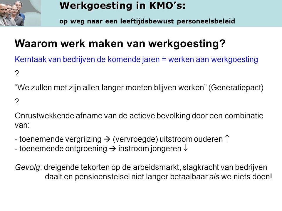 Werkgoesting in KMO's: op weg naar een leeftijdsbewust personeelsbeleid Waarom werk maken van werkgoesting.