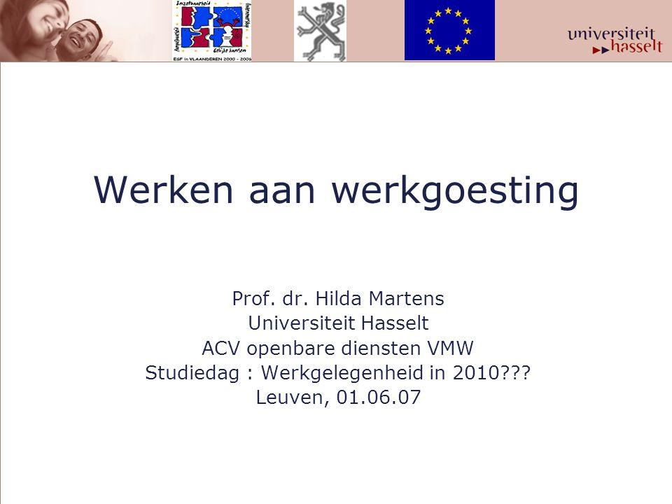 Achtergrond Vier groepen trajecten 1.ESF-project : Zilveren processen en producten (2004-2006) Borealis, Umicore, Stad Hasselt, Provincie Limburg 2.Werkgoesting in KMO's, ESF-project (2005-2007) 3.Diversiteit op de rails, ESF-project (2006-2007) 4.Casestudies in Carrefour, NMBS, De Post, FOD Financiën, FOD P & O, T-Interim, HRM en mantelzorg, bejaardenverzorging : RVT's en Landelijke thuiszorg, Philips, Masterfood, AND Steel, Velda Bedding, Isis, WTCM, Johnson Control, Fortis, IBM.