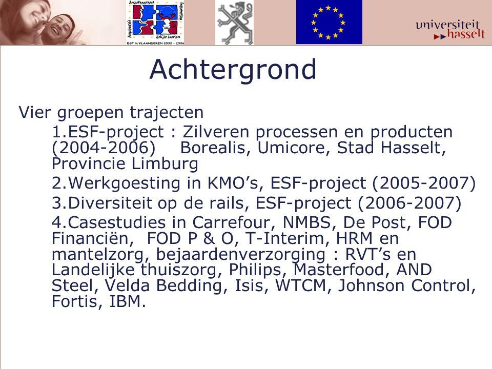 Achtergrond Vier groepen trajecten 1.ESF-project : Zilveren processen en producten (2004-2006) Borealis, Umicore, Stad Hasselt, Provincie Limburg 2.We
