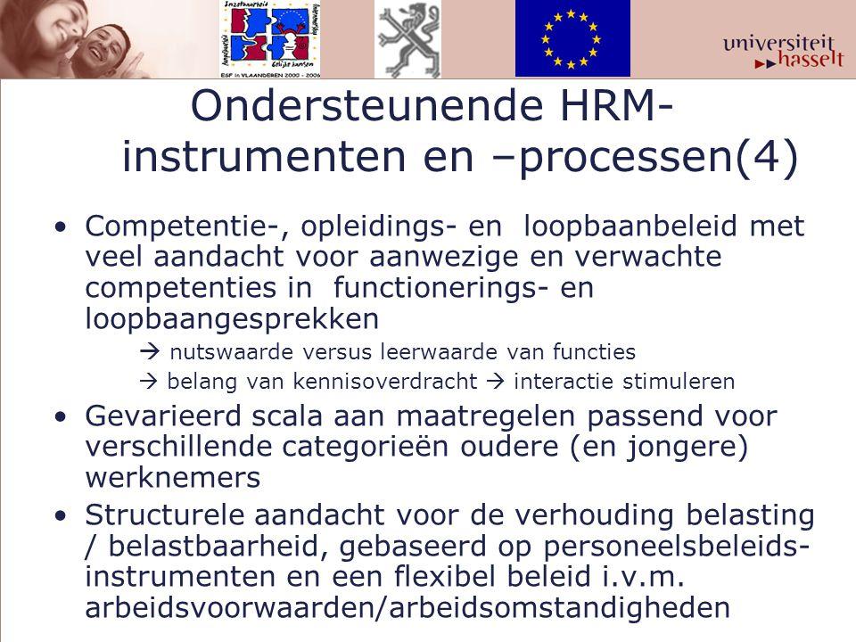 Ondersteunende HRM- instrumenten en –processen(4) Competentie-, opleidings- en loopbaanbeleid met veel aandacht voor aanwezige en verwachte competenti