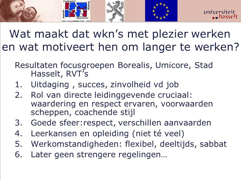 Wat maakt dat wkn's met plezier werken en wat motiveert hen om langer te werken? Resultaten focusgroepen Borealis, Umicore, Stad Hasselt, RVT's 1.Uitd