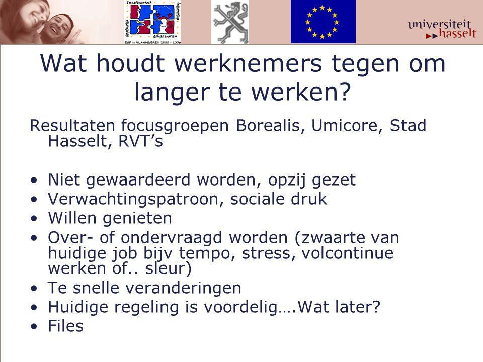 Wat houdt werknemers tegen om langer te werken? Resultaten focusgroepen Borealis, Umicore, Stad Hasselt, RVT's Niet gewaardeerd worden, opzij gezet Ve