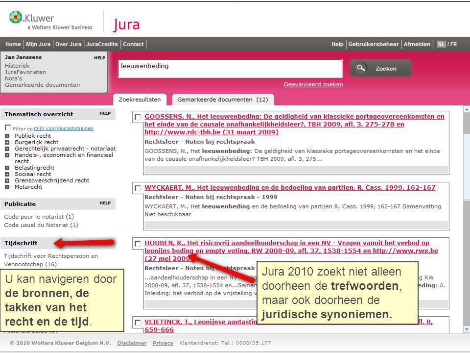 Jura 2010 zoekt niet alleen doorheen de trefwoorden, maar ook doorheen de juridische synoniemen. U kan navigeren door de bronnen, de takken van het re