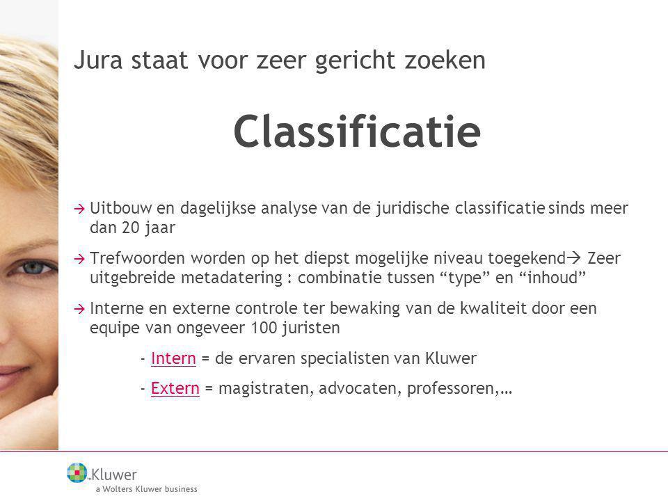 Jura staat voor zeer gericht zoeken Classificatie  Uitbouw en dagelijkse analyse van de juridische classificatie sinds meer dan 20 jaar  Trefwoorden