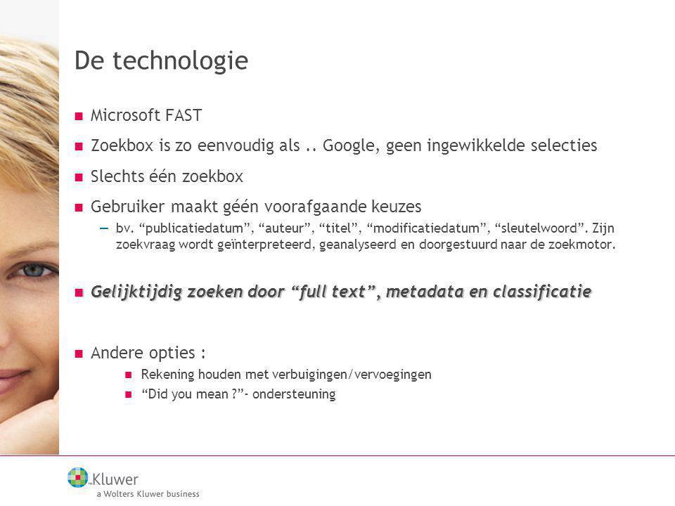 De technologie Microsoft FAST Zoekbox is zo eenvoudig als.. Google, geen ingewikkelde selecties Slechts één zoekbox Gebruiker maakt géén voorafgaande
