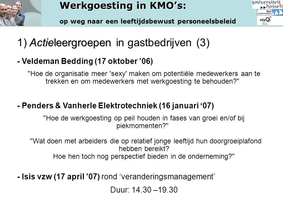 Werkgoesting in KMO's: op weg naar een leeftijdsbewust personeelsbeleid Actieleergroepen 1) Actieleergroepen in gastbedrijven (3) - Veldeman Bedding (