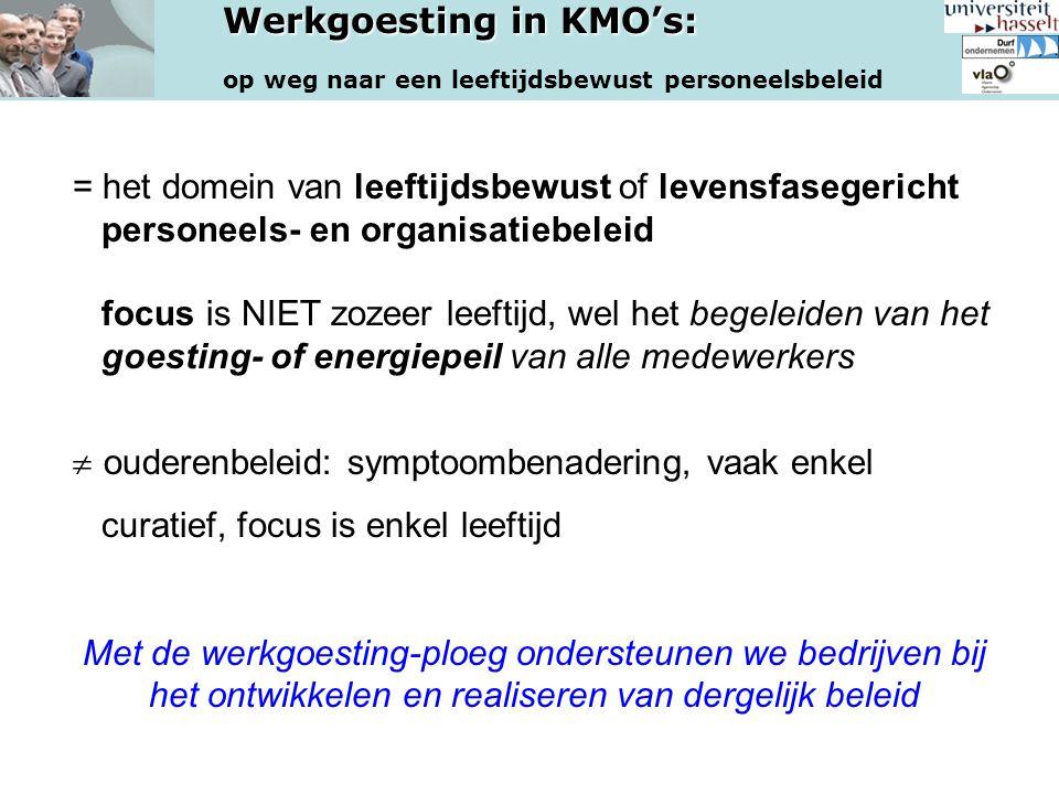 Werkgoesting in KMO's: op weg naar een leeftijdsbewust personeelsbeleid = het domein van leeftijdsbewust of levensfasegericht personeels- en organisat