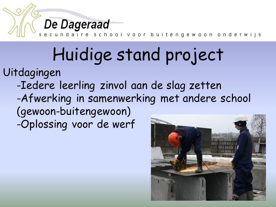 Huidige stand project Uitdagingen -Iedere leerling zinvol aan de slag zetten -Afwerking in samenwerking met andere school (gewoon-buitengewoon) -Oplos
