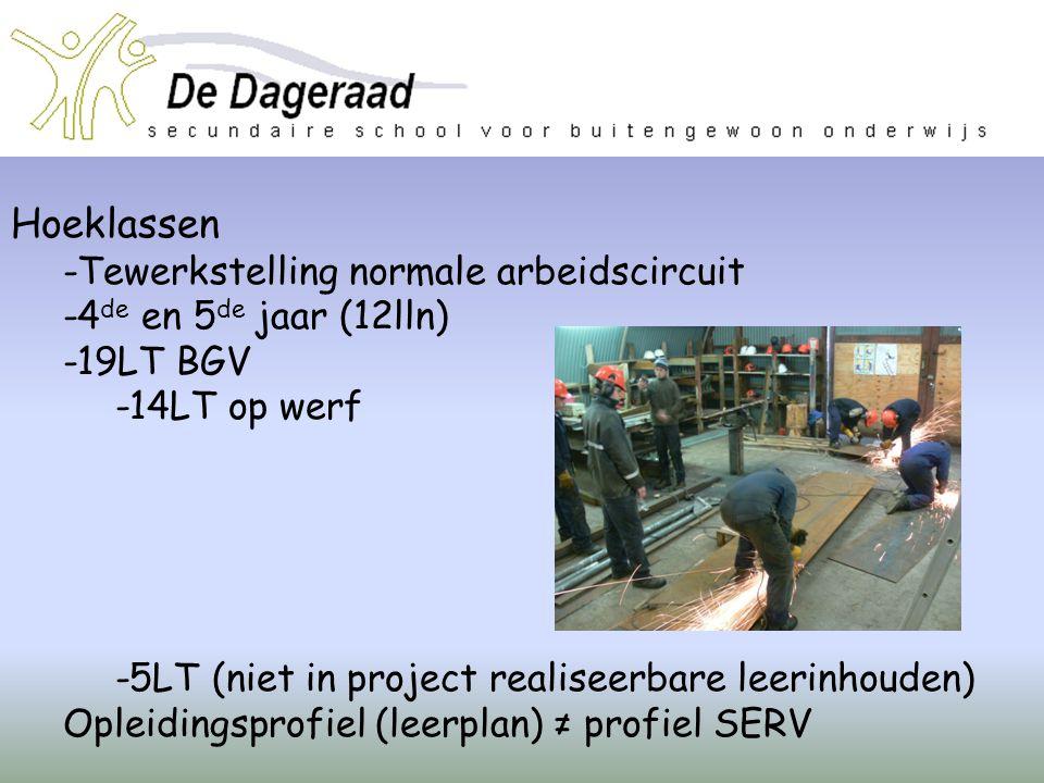 Hoeklassen -Tewerkstelling normale arbeidscircuit -4 de en 5 de jaar (12lln) -19LT BGV -14LT op werf -5LT (niet in project realiseerbare leerinhouden)
