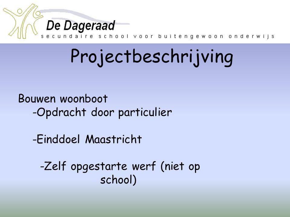 Projectbeschrijving Bouwen woonboot -Opdracht door particulier -Einddoel Maastricht -Zelf opgestarte werf (niet op school)