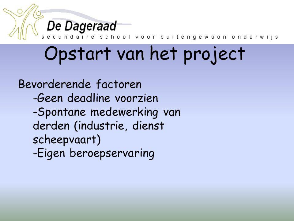 Opstart van het project Bevorderende factoren -Geen deadline voorzien -Spontane medewerking van derden (industrie, dienst scheepvaart) -Eigen beroepse
