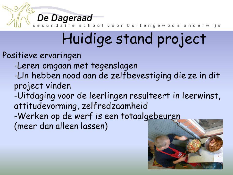 Huidige stand project Positieve ervaringen -Leren omgaan met tegenslagen -Lln hebben nood aan de zelfbevestiging die ze in dit project vinden -Uitdagi