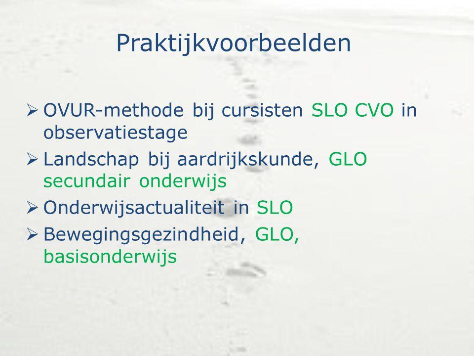 Praktijkvoorbeelden  OVUR-methode bij cursisten SLO CVO in observatiestage  Landschap bij aardrijkskunde, GLO secundair onderwijs  Onderwijsactuali