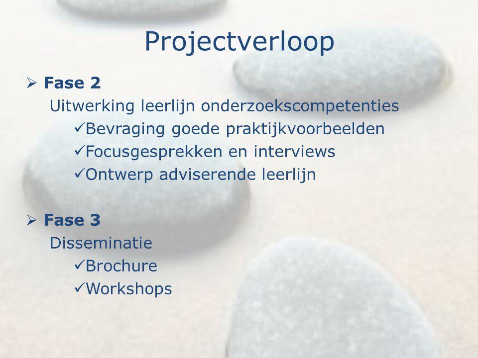 Projectverloop  Fase 2 Uitwerking leerlijn onderzoekscompetenties Bevraging goede praktijkvoorbeelden Focusgesprekken en interviews Ontwerp adviseren