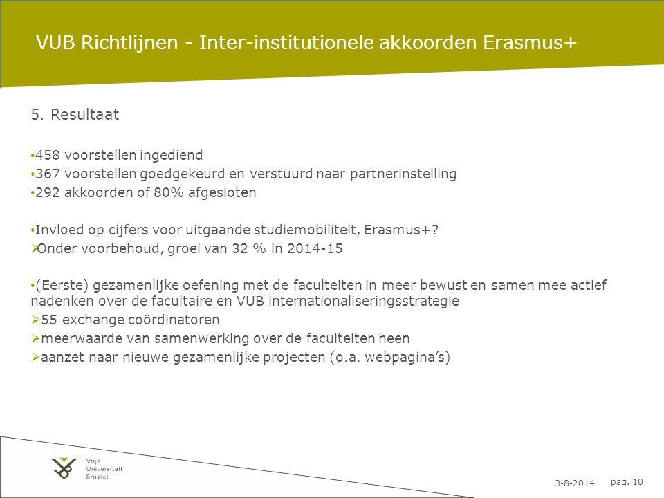 3-8-2014 pag. 10 VUB Richtlijnen - Inter-institutionele akkoorden Erasmus+ 5. Resultaat 458 voorstellen ingediend 367 voorstellen goedgekeurd en verst