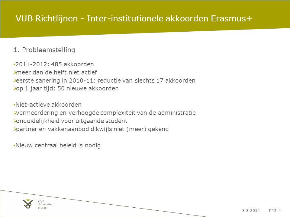 3-8-2014 pag. 4 VUB Richtlijnen - Inter-institutionele akkoorden Erasmus+ 1. Probleemstelling 2011-2012: 485 akkoorden  meer dan de helft niet actief