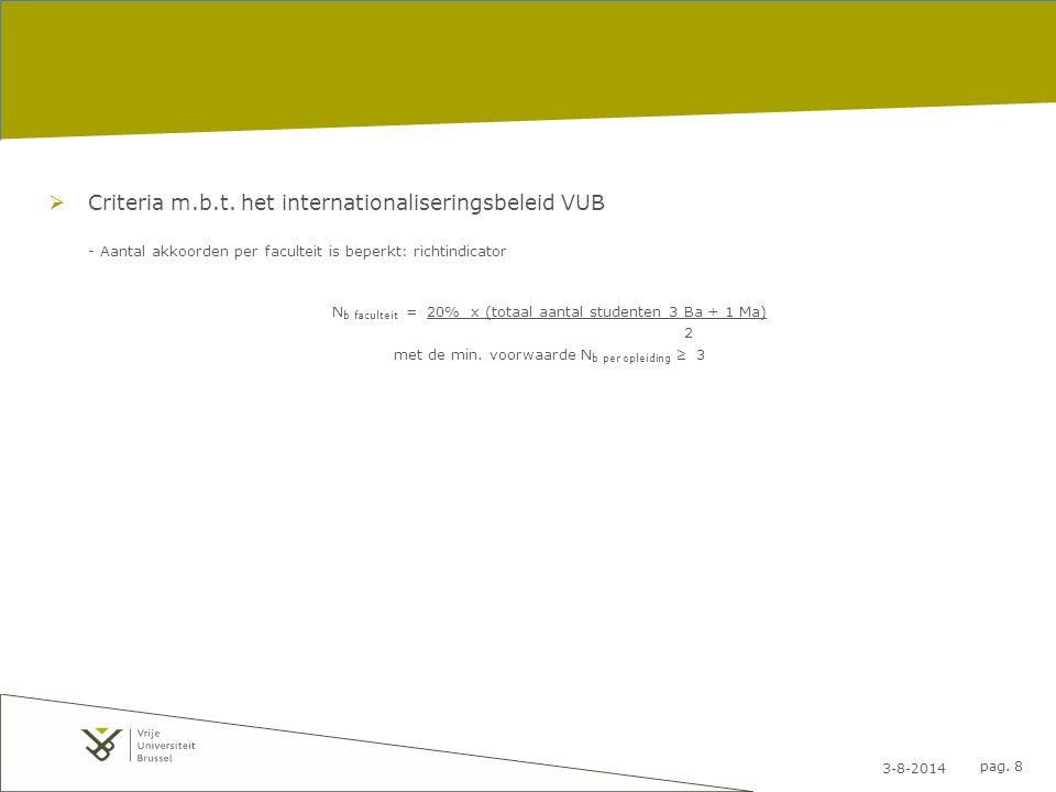 3-8-2014 pag. 8  Criteria m.b.t. het internationaliseringsbeleid VUB - Aantal akkoorden per faculteit is beperkt: richtindicator N b faculteit = 20%