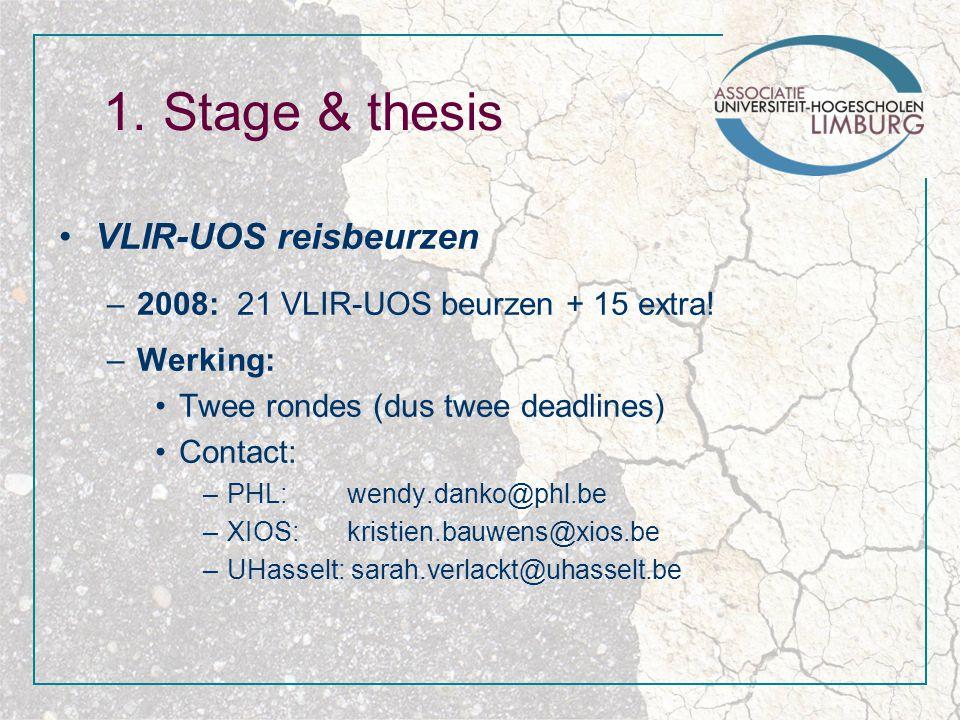1. Stage & thesis VLIR-UOS reisbeurzen –2008: 21 VLIR-UOS beurzen + 15 extra.