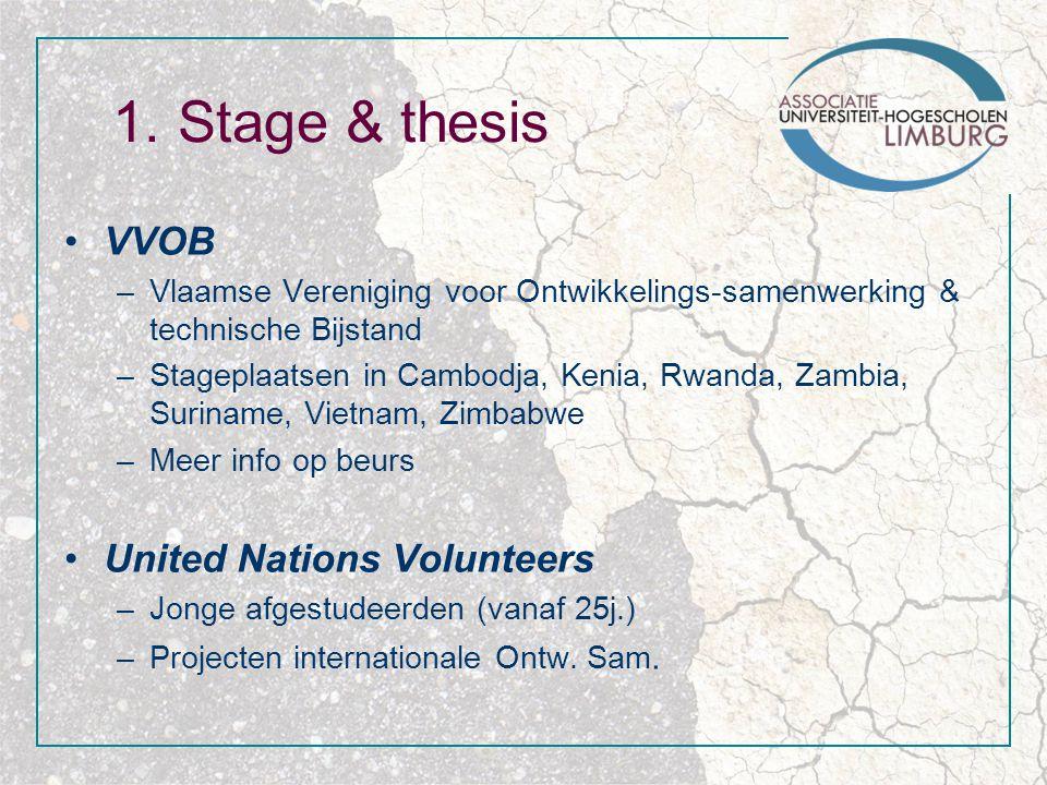 1. Stage & thesis VVOB –Vlaamse Vereniging voor Ontwikkelings-samenwerking & technische Bijstand –Stageplaatsen in Cambodja, Kenia, Rwanda, Zambia, Su