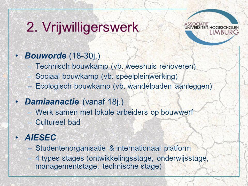 2. Vrijwilligerswerk Bouworde (18-30j.) –Technisch bouwkamp (vb.