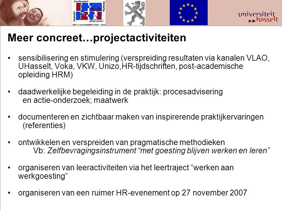 Meer concreet…projectactiviteiten sensibilisering en stimulering (verspreiding resultaten via kanalen VLAO, UHasselt, Voka, VKW, Unizo,HR-tijdschrifte
