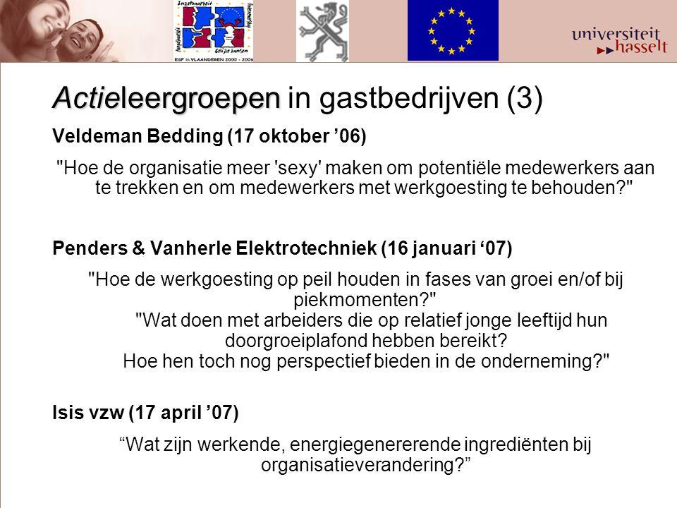 Actieleergroepen Actieleergroepen in gastbedrijven (3) Veldeman Bedding (17 oktober '06)