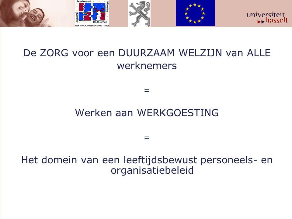 De ZORG voor een DUURZAAM WELZIJN van ALLE werknemers = Werken aan WERKGOESTING = Het domein van een leeftijdsbewust personeels- en organisatiebeleid