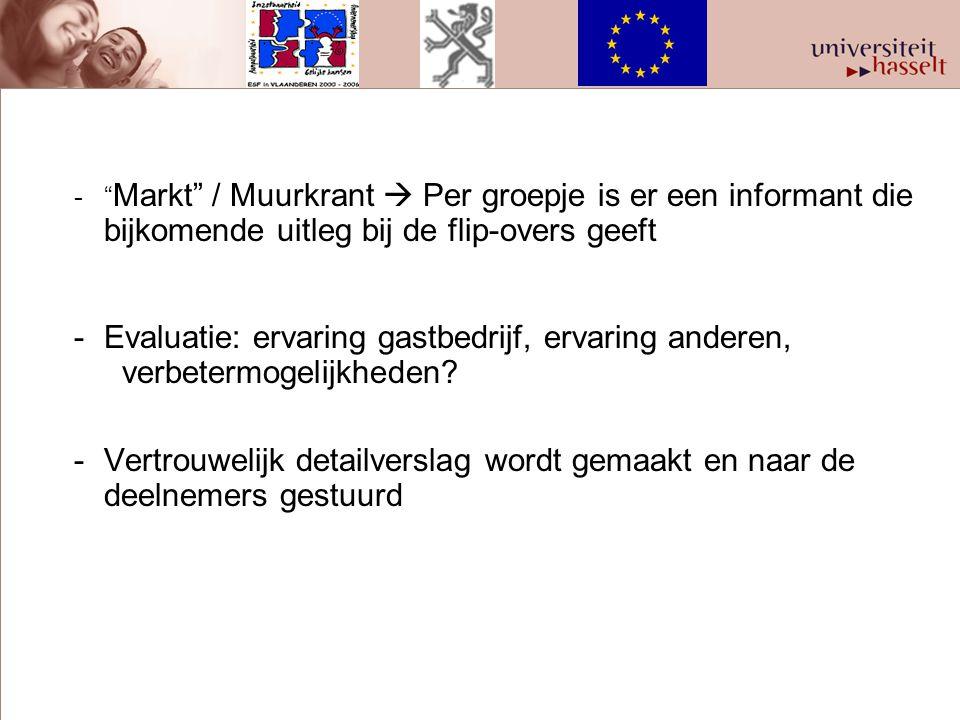 """-"""" Markt"""" / Muurkrant  Per groepje is er een informant die bijkomende uitleg bij de flip-overs geeft -Evaluatie: ervaring gastbedrijf, ervaring ander"""