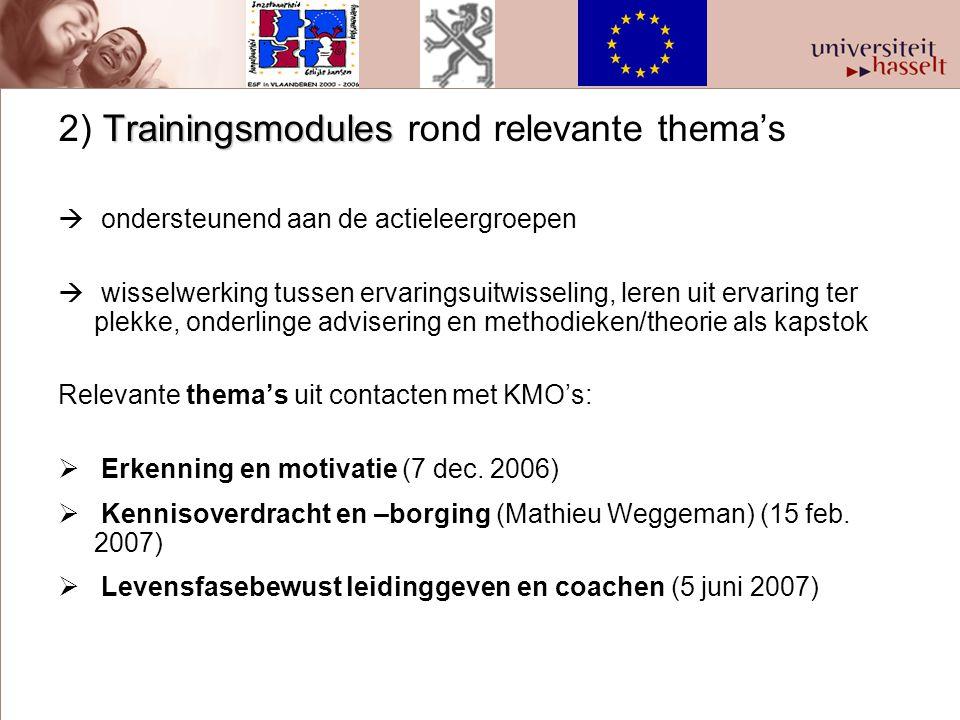 Trainingsmodules 2) Trainingsmodules rond relevante thema's  ondersteunend aan de actieleergroepen  wisselwerking tussen ervaringsuitwisseling, lere