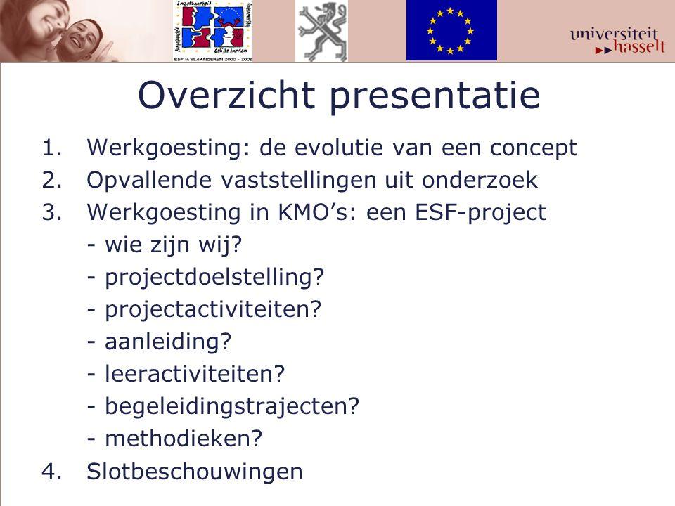 Overzicht presentatie 1.Werkgoesting: de evolutie van een concept 2.Opvallende vaststellingen uit onderzoek 3.Werkgoesting in KMO's: een ESF-project -