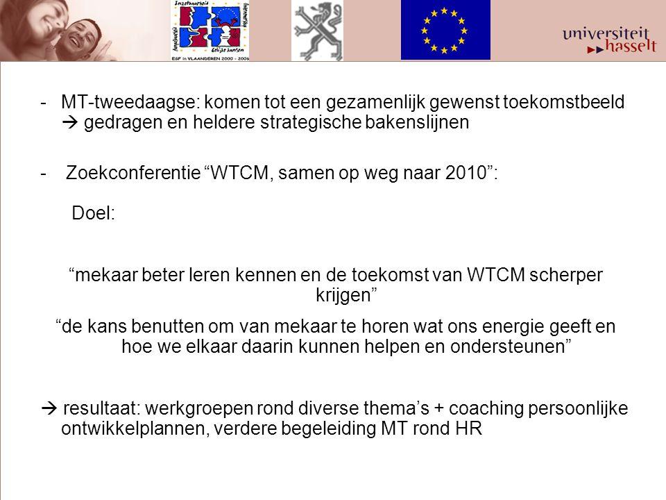 """-MT-tweedaagse: komen tot een gezamenlijk gewenst toekomstbeeld  gedragen en heldere strategische bakenslijnen - Zoekconferentie """"WTCM, samen op weg"""