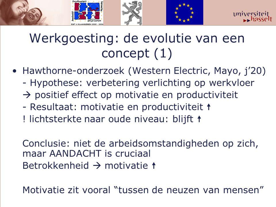 Werkgoesting: de evolutie van een concept (1) Hawthorne-onderzoek (Western Electric, Mayo, j'20) - Hypothese: verbetering verlichting op werkvloer  p