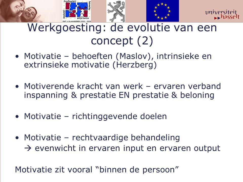 Werkgoesting: de evolutie van een concept (2) Motivatie – behoeften (Maslov), intrinsieke en extrinsieke motivatie (Herzberg) Motiverende kracht van w