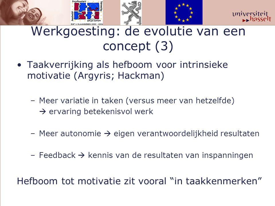 Werkgoesting: de evolutie van een concept (3) Taakverrijking als hefboom voor intrinsieke motivatie (Argyris; Hackman) –Meer variatie in taken (versus