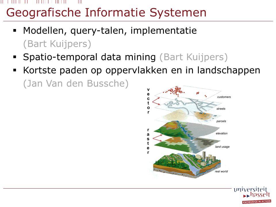Geografische Informatie Systemen  Modellen, query-talen, implementatie (Bart Kuijpers)  Spatio-temporal data mining (Bart Kuijpers)  Kortste paden op oppervlakken en in landschappen (Jan Van den Bussche)