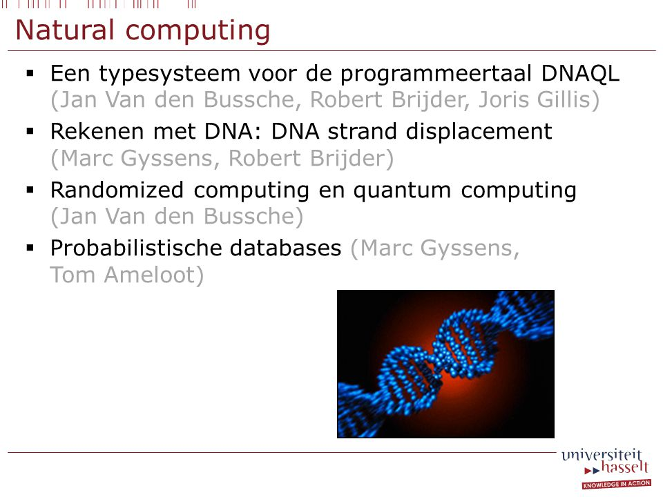 Natural computing  Een typesysteem voor de programmeertaal DNAQL (Jan Van den Bussche, Robert Brijder, Joris Gillis)  Rekenen met DNA: DNA strand displacement (Marc Gyssens, Robert Brijder)  Randomized computing en quantum computing (Jan Van den Bussche)  Probabilistische databases (Marc Gyssens, Tom Ameloot)