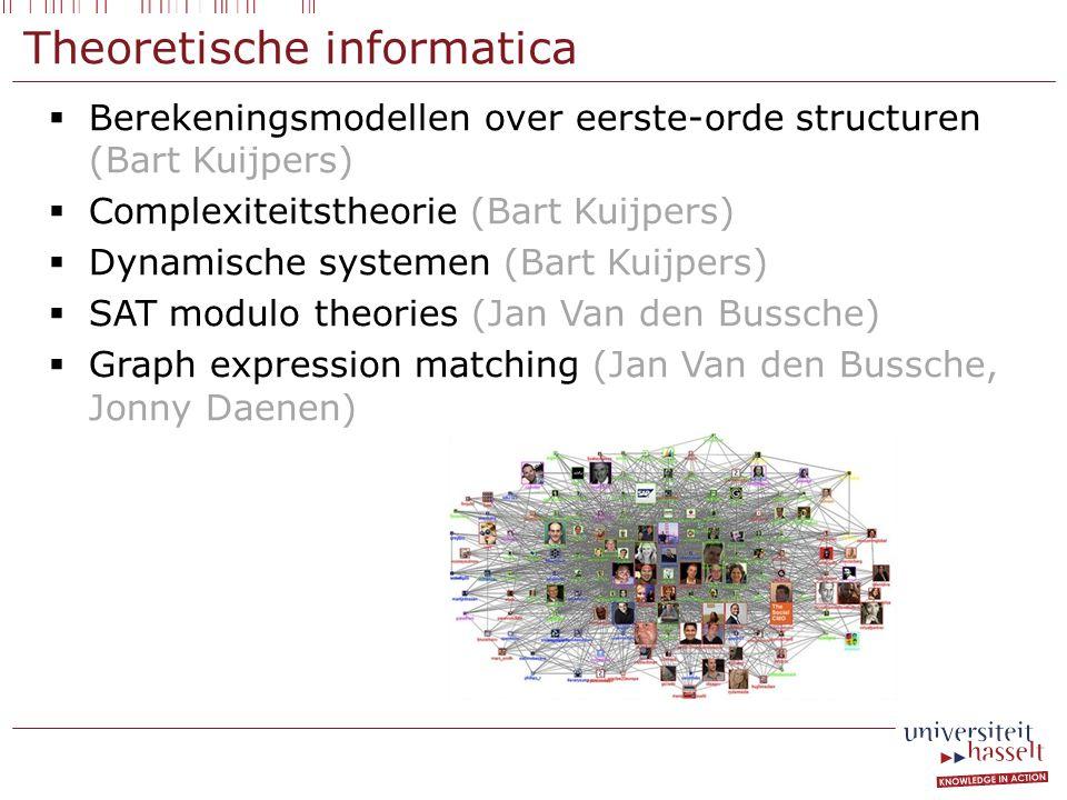Theoretische informatica  Berekeningsmodellen over eerste-orde structuren (Bart Kuijpers)  Complexiteitstheorie (Bart Kuijpers)  Dynamische systemen (Bart Kuijpers)  SAT modulo theories (Jan Van den Bussche)  Graph expression matching (Jan Van den Bussche, Jonny Daenen)
