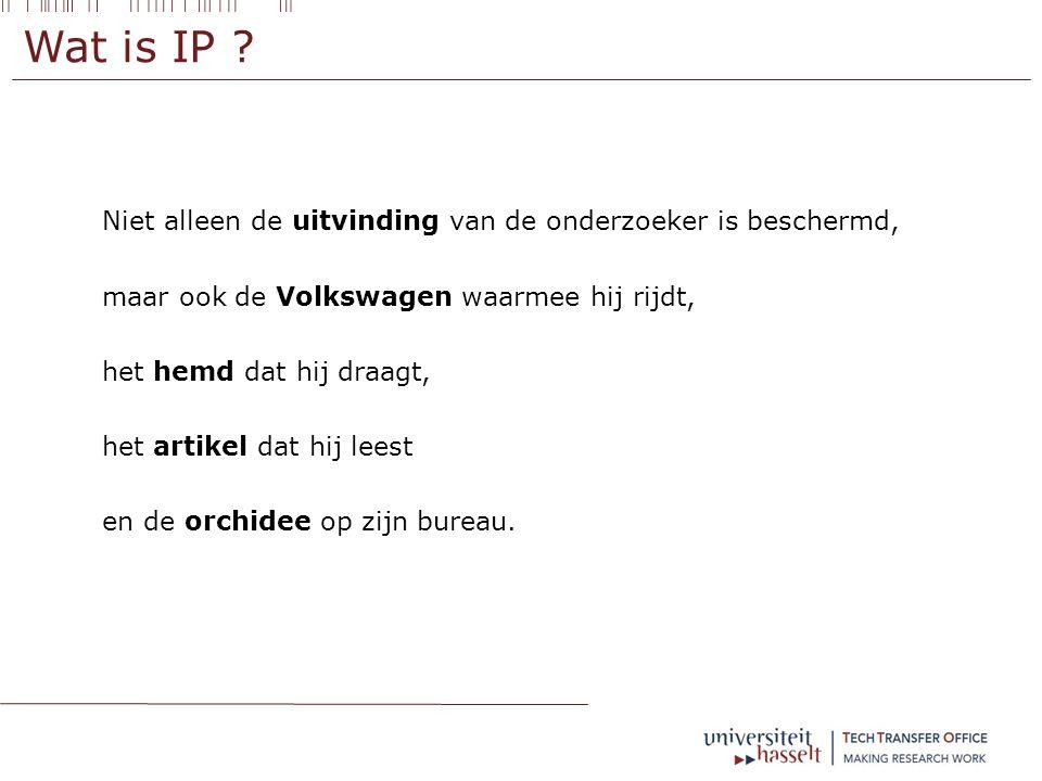 IP aan de UHasselt – publicaties –  Geregistreerde IP ontstaat pas na bepaalde procedure  Nieuwheid als voorwaarde tot registratie IP  Publicatie schaadt deze nieuwheid eerst nagaan of bescherming opportuun is alvorens te publiceren !